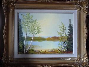 Landscape Painting, Original, by Orvokki Jalava, Vintage Framed
