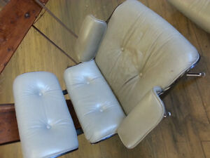 eames style leather chair and ottoman