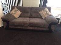 Grey/black sofa 3seater and chair