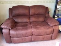 Brown Nubuck Leather 2 Seater Recliner