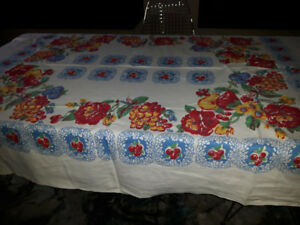 Vintage Flowers and Fruits tablecloth
