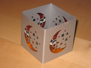 Decorative Tealight Candle Holder Box (Square Metal Moon)