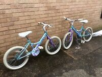 "Two (twins) Girls Raleigh Bikes 17"" wheels"
