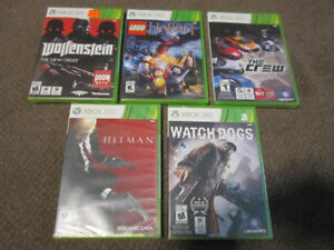 XBox 360 -Wolfenstein, Lego Hobbit, The Crew, Watch Dogs, Hitm_