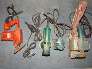 LOT OF USED POWER TOOLS: SANDERS, ENGRAVER, RECIPROCATING SAW