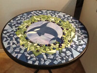 STOLEN:  Patio Table with Orca Whale Design and 2 Black Chairs