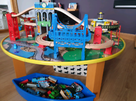 Wooden train table and 3 level Track