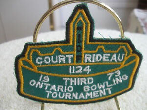 1973 ONTARIO BOWLING TOURNAMENT ..COURT RIDEAU #1124 PATCH
