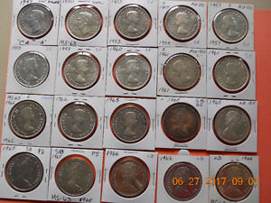 29 Canadian Dollar coins,plus some other coins for sale