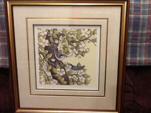 CHRISTINE MARSHALL PRINTS = FRAMED AND MATTED - SET OF 4