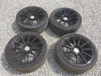 """Set of 4 17"""" Alloy Wheels and Tyres PCD 114.3 Honda"""
