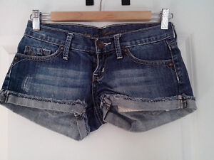 Mango denim low rise and Topshop high waisted hot pants
