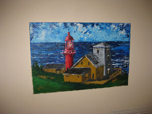 """Lighthouse in Gaspesie"" - Original Oil Painting 24"" x 15.5"""