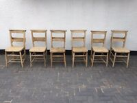 6 X wooden Church chairs / chapel chairs