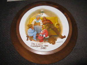 "Csatari Grandparent Plate 1980, ""The Bedtime Story"" - Framed, Pa"