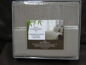 real bamboo king size olive coloured sheet set. price firm