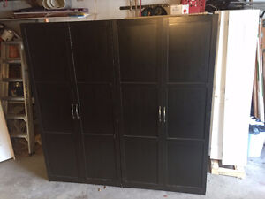 Two IKEA PAX Wardrobes w/ shelves, clothes bar, drawer - $400
