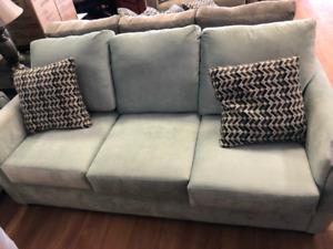 Mint blue sofa n loveseat