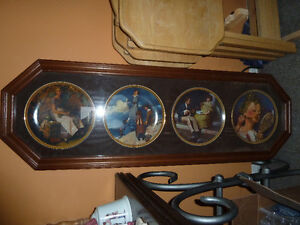 framed Norman Rockwell Plates and bell