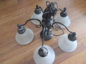 5 bulb antique bronze and frosted glass hanging ceiling light