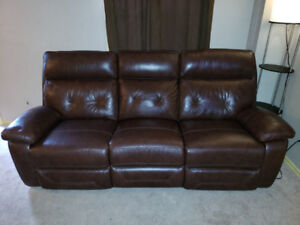 Leather Manual Reclining Sofa and Loveseat - Cognac