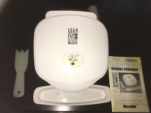 Mini grill, George Foreman, white, attachments & owners manual.