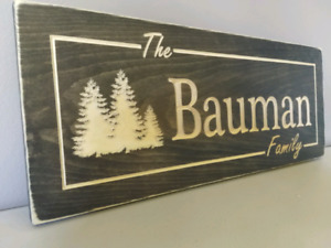 Carved wooden signs