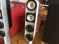 KEF fivetwo 7 front surround sound speakers on stands