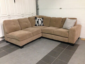 2 pc. Sectional light brown