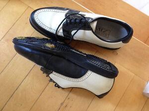 Souliers de golf femmes cuir noir et ivoire