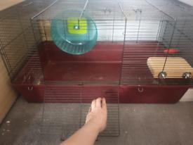 Hamster cage (80cm x 50cm) and 27cm wheel plus accessories