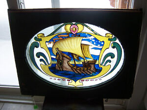 Antique stained glass, reverse painted window