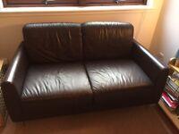 IKEA small brown leather sofa