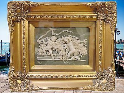Relief 2 Amoretten Engel goldfarbenen viereckigen Rahmen Miniaturen Silhouette