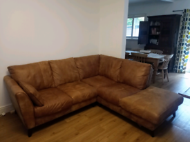 Brown leather corner sofa DFS