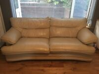 X2 3 seater cream leather sofa £50 for both
