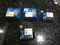 HP printer cartridges 22 tri-colour and 21 black