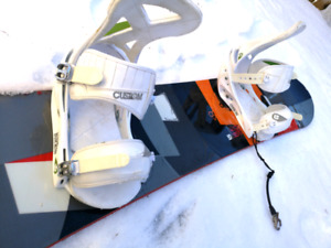 158 cm burton snowboard, bindings, and size 11.5 boots