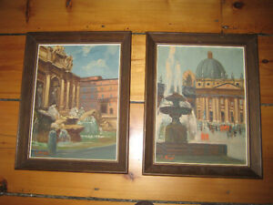 AUTHENTIC OIL PAINTING FROM ROME IN ITALY FRAMED