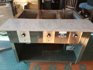 STEAM TABLE - 3 WELL. Self Draining, Works Great, Marble Board