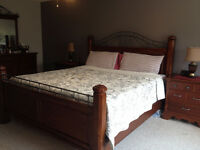 solid wood king bedroom set with mattress for sale