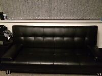 Black Leather Small Double Bed With Black Leather Sofa Bed
