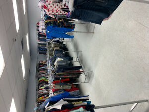 Closing out sale used children's clothing,adult clothing,racks