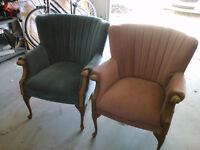 Antique Fluted Back Queen Anne Chairs (2)