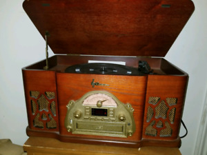 Vintage style record player and radio