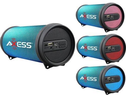 $23.90 - Axess SPBL1043 Hi-Fi Cylinder Speaker +Bluetooth +USB/SD/FM/AUX +Disco LED Light
