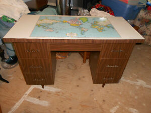 Student Style Desk, with world map built in. Good condition.