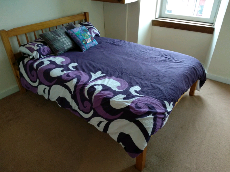 Wooden Double Bed Frame With Mattress In Southside Glasgow Gumtree