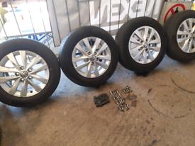 "Set of Genuine VW T5/T6 Alloy 16"" wheels & tyres"