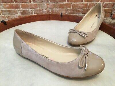 Isaac Mizrahi Fancy Natural Beige Suede & Patent Captoe Ballet Flats NEW